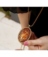 Vintage Amber Pendant Long Necklace - £7.62 GBP