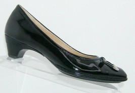 Sofft black patent leather square toe bow slip on stacked kitten heels 7N 7610 - $33.30