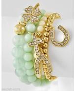 Mint Green Bead Rhinestone Cross Shamrock Horseshoe Wishbone Charm 4 pc ... - $20.69
