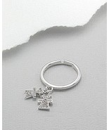 Sterling Silver CZ Girl Twins Charms Dangle Ring Size 6 to 7 adjustible - $19.59