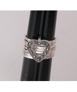 Sterling Silver Seven Band Marcasite Heart Ring Sz 5 - $24.50