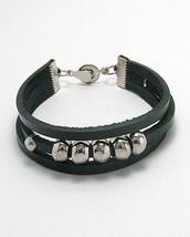 Triple Strand Deep Black Leather Silver Tone Beads Magnetic Closure Brac... - $21.59