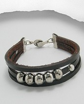 Triple Strand Rich Brown Leather Silver Tone Beads Magnetic Closure Brac... - $16.79