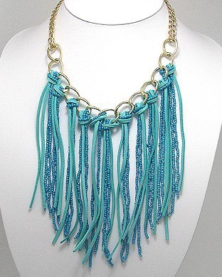 Turquoise Bead Suede Fringe Bib Gold Tone Statement Necklace