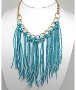 Turquoise Bead Suede Fringe Bib Gold Tone Statement Necklace - $23.67 CAD