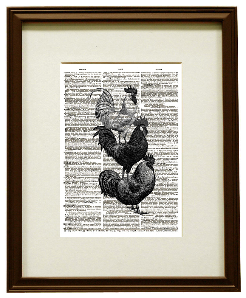 Stacked Roosters and Chickens Vintage Dictionary Art Print No. 0115