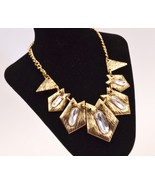 Unique Rough Style Irregular Shapes with Crystals Bib Necklace - £9.15 GBP