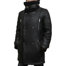 Men's New WInter Handmade Black Sheepskin Fur Leather Duffel Coat SC114 - $799.00