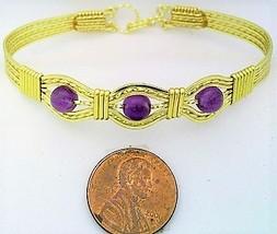 Amethyst Gold Wire Wrap Bracelet Sz. 7.5 - $28.94