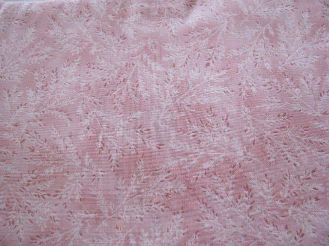 Benartex Fabric Yours Truly Cream  and Brown Ferns on Pink Cotton Fabric