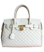 Carbotti Designer Style White Quilted Leather Handbag - $234.85