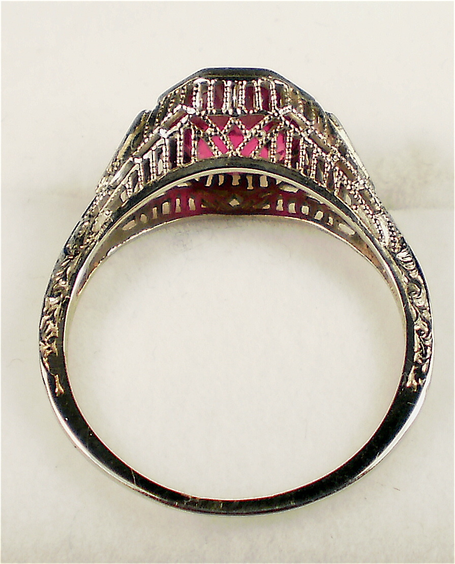 Elaborate Antique White Gold Filigree 18kt Ruby Ring Other