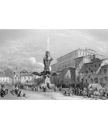ITALY Rome Piazza Barberini Triron Fountain - 1861 Engraving Print - $26.40