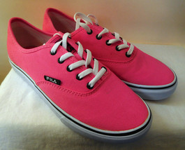 FILA Neon Pink Womens Classic Canvas Sneakers Round Toe Laced Boxed Sz 8... - $24.49