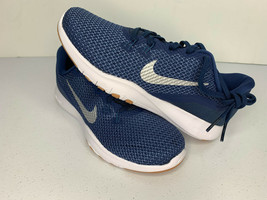 NEW SIZE 6 WOMEN Nike Flex Trainer 7 Navy Metallic Silver TRAINING SHOES... - $33.65