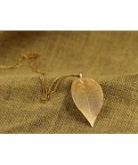 Super Pretty Gold Leaf Long Pendant Necklace - $10.99