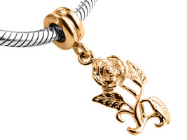 9ct Yellow GOLD Handmade Rose Dangle Charm Fits EUROPEAN BRACELETS - $126.23