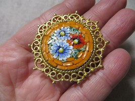 Vntg.60's Italy Fine Orange/Floral Micro Mosaic Glass Pin Brooch Gold tone metal - $29.99