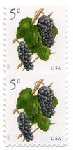 1 sheet of 20 2017 Grapes Issue 5 Cent stamps  Scott #5177 - $5.97
