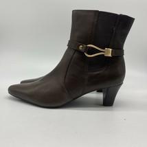 ANNE KLEIN iflex Brown Leather Side Zip Ankle Fashion Boots Bootie, Size 7.5 - $21.78