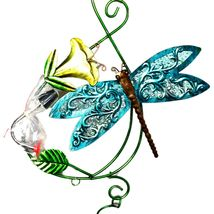 Painted Metal & Glass Blue Dragonfly Garden Hanging Hummingbird Nectar Feeder image 3