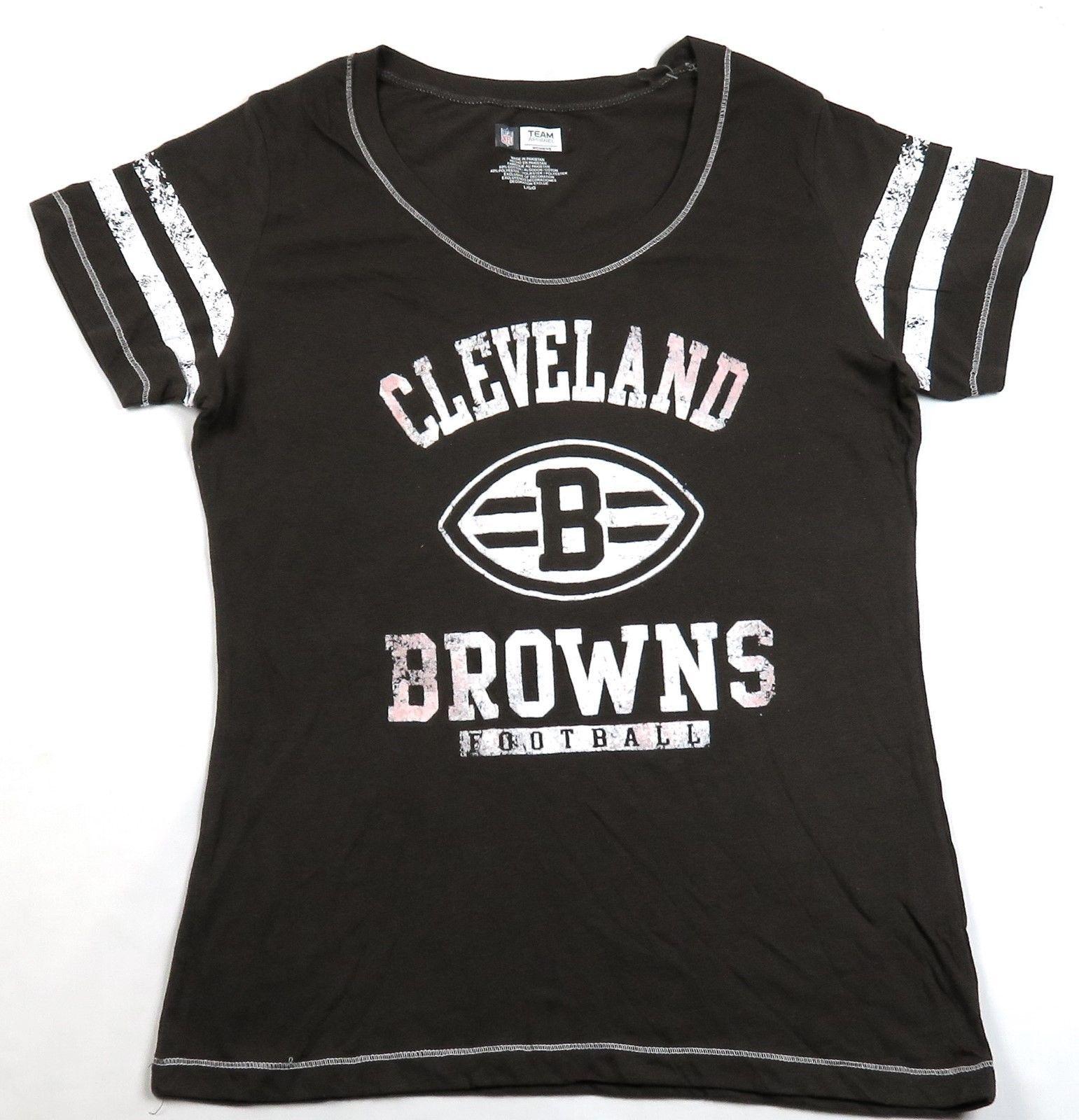 Women's Cleveland Browns Tee Shirt Short Sleeve Weathered Logo NFL Football