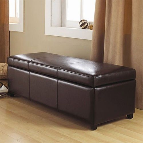 Franklin Large Rectangular Brown Faux Leather Storage Ottoman Bench Furniture Benches Stools