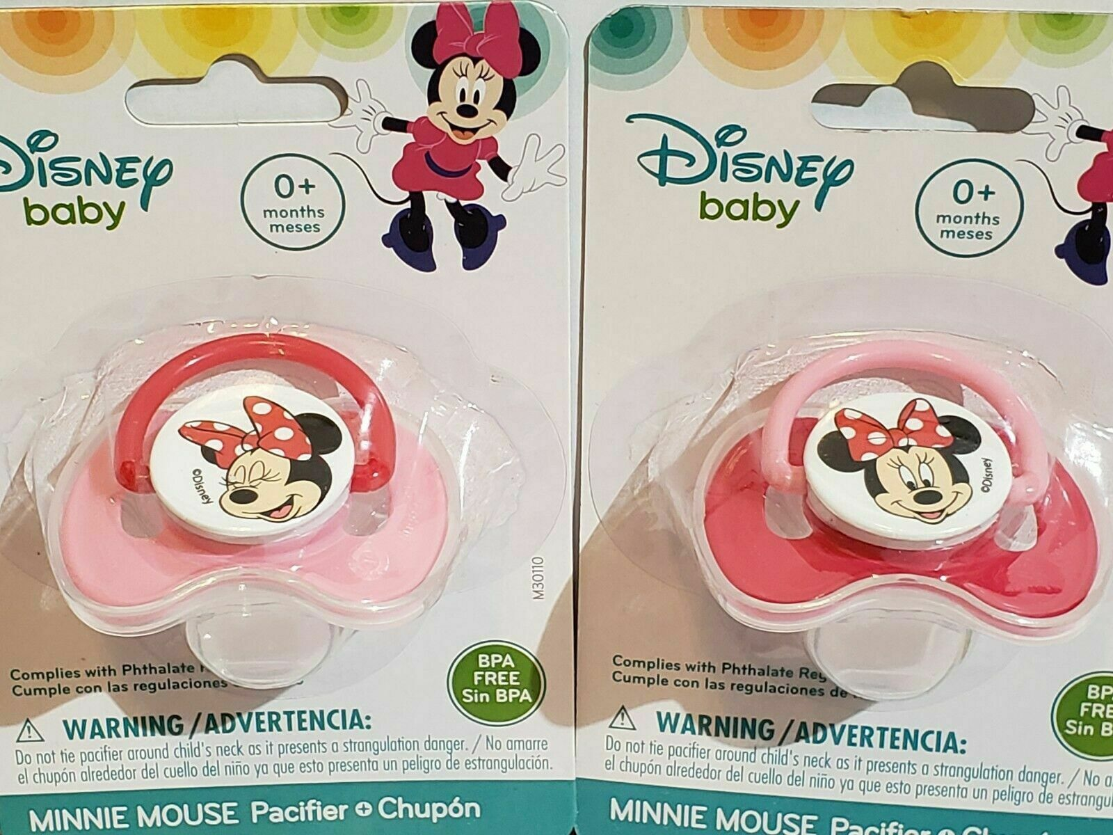Primary image for 2x Minnie Lot 2 New Disney Mouse baby Pacifier (BPA Free) 0+ months Pink Red