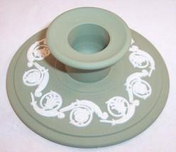 Wedgwood Green Scroll Design Jasperware Single Banquet Candle Holder Candlestick - $11.99