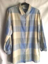 KORET Shirt Women's Blouse Size 16W Blue Green Beige Top Career Church - $12.57
