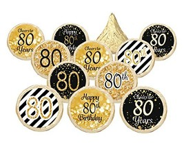 80th Birthday Party Favor Stickers - Gold and Black (Set of 324) - £12.98 GBP