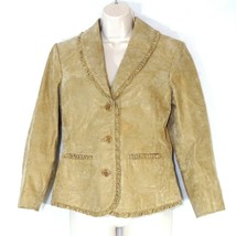 Bernardo Button Up Leather Jacket Fitted Women Size S Brown Metallic Look - $19.80