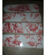 CUSTOM DESIGNED RED ON WHITE ORIENTAL TOILE CEILING FAN with SINGLE LIGHT - $98.90