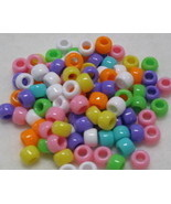 Circus Opaque Mix 9mm x 6mm Pony Beads - Qty 100 - $3.25
