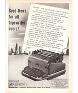 1947 Underwood brand All Electric Typewriter print ad - $10.00