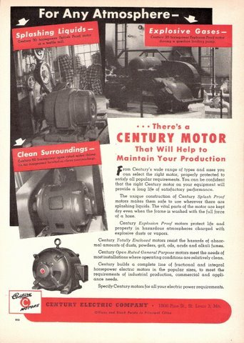 1947 Century Brand Electric Motor Advertising Print Ad