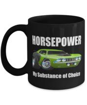 1971 Plymouth Cuda Horsepower Muscle Car CARtoons - 11 oz Classic Black Coffee  - $18.99