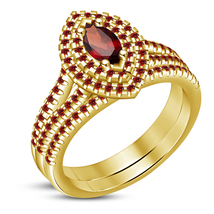 Red Garnet 14k Yellow Gold Over 925 Solid Sterling Silver Womens Bridal ... - $91.99