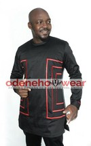 Odeneho Wear Men's Black Polished Cotton/ Red Embroidery.African Clothing. Set - $128.70+