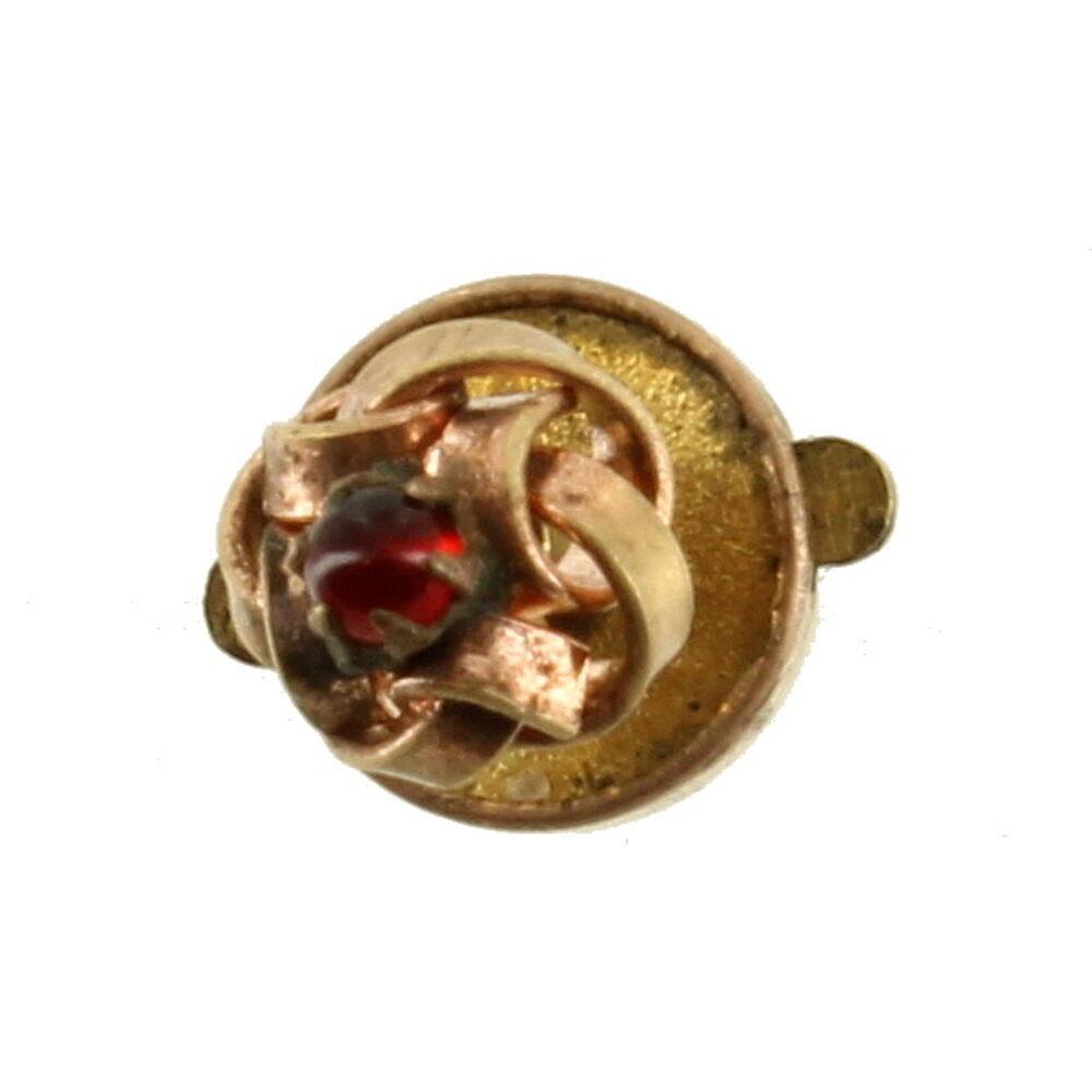 Antique Victorian Spelter Lapel Pin Button Faux Garnet Cab Darling! 7.5MM - $26.99