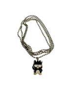 Sanrio Badtz Maru Necklace Long Metal Chain Enamel Charm Sad Penguin Hel... - $18.42