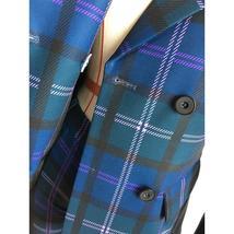 European Brand Runway Designer Blue Plaid Fashion Blazer Pant Suit Set image 8