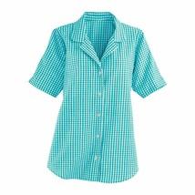 Koret Women's Plus Size Gingham Shirt Turquoise 1X #NJ2ED-M794 - $24.99