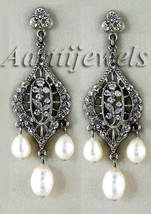 Victorian 1.56ct Rose Cut Diamond Pearl Wedding Earrings Vintage VTJ EHS - $503.08