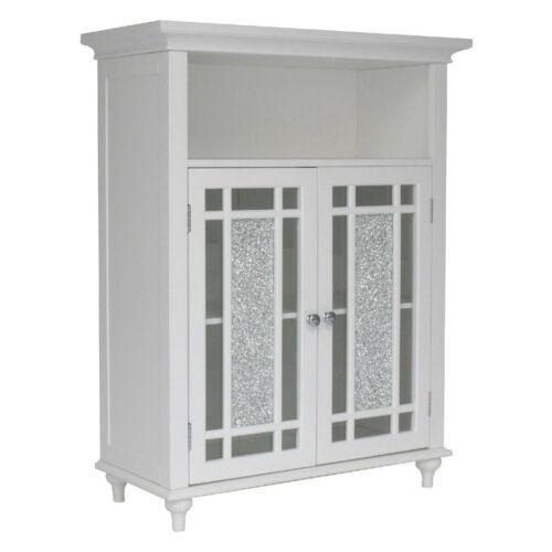 NEW White Floor Cabinet Bath Shelf 3 Tier Towel Storage Door Bathroom Elegant
