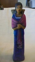 Hand Painted Plaster Spanish Girl with Basket & Shawl Figurine - $29.70