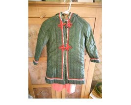 Little girls vintage coat 70's green quilted long hood red trim retro s... - $25.00
