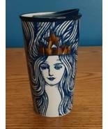 Starbucks Anniversary Blue Mermaid Siren Queen Ceramic Tumbler Travel Mu... - $45.49