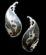 Vintage Siam Sterling Niello Mermaid Large Clip Earrings Signed MG - $23.00