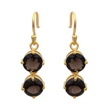 925 Sterling Silver Yellow Rhodium Plating Smoky Quartz Gemstone Dangle ... - $23.12